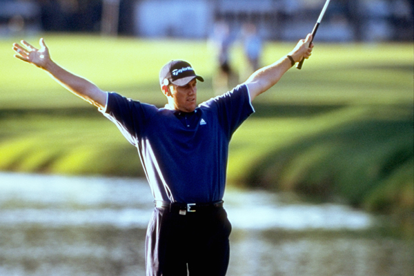 Craig Perks after chipping in for eagle at the 16th hole during the 2002 Players Championship.