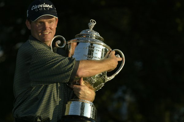 Shaun Micheel holds the Wannamaker Trophy after winning the 2003 PGA Championship at Oak Hill.