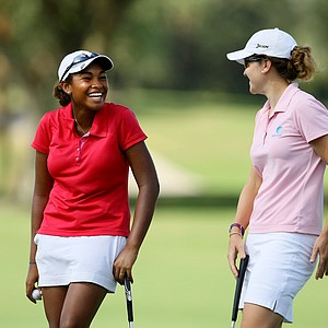 Ginger Howard, left, and Julia Boland, right, during Stage II of LPGA Qualifying Tournament. Howard won by a stroke and advances to the final stage in Daytona Beach.