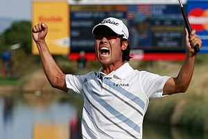 Kevin Na celebrates his two-stroke victory at the Justin Timberlake Shriners Hospitals for Children Open.