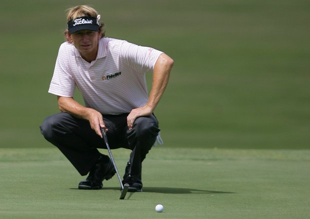 Brad Faxon lines up his putt on the sixth hole during the second round of the Champion Tour's Insperity Championship at The Woodlands Country Club.