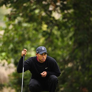 Tiger Woods reads his putt on the 11th hole during the final round of the Frys.com Open at the CordeValle Golf Club.