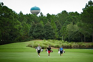 Players walk the 11th fairway at the Raven Course during the Golfweek Fall Invitational.