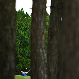 John Dukes of UT-Tyler watches his second shot on the 11th fairway at the Golfweek Fall Invitational.