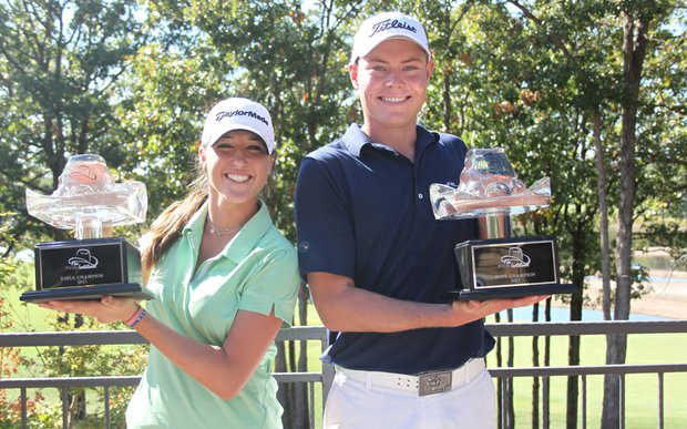 Jaye Marie Green, left, and A.J. McInerney after winning the AJGA Ping Invitational on Oct. 10.