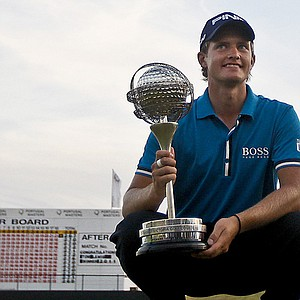 Tom Lewis after winning the Portugal Masters.