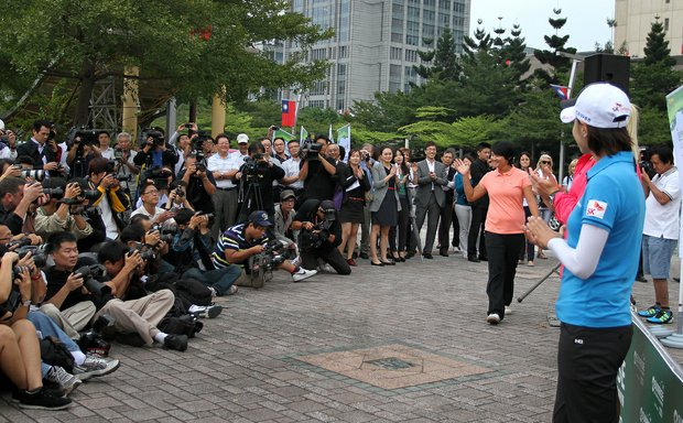 Yani Tseng is introduced to the media during an LPGA press conference near Taipei 101.