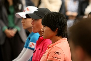 Yani Tseng sits with Suzann Pettersen and Na Yeon Choi during a LPGA press conference near Taipei 101.