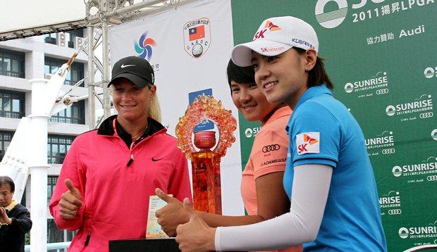 Suzann Pettersen, Yani Tseng and Na Yeon Choi during a press conference for the inaugural Sunrise LPGA Championship.