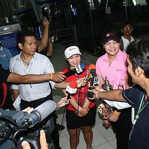 Moriya and Ariya Jutanugarn speak with Thailand media upon their return home to Bangkok.