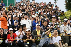 The crowd cheers for hometown hero, Yani Tseng, at the first tee prior to Thursday's round. Thousands showed up to watch the action.
