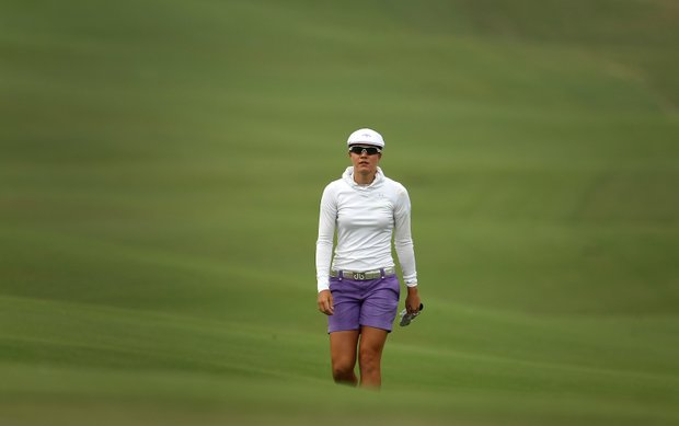 Vicky Hurst walks up to No. 9 during Thursday's round of the inaugural 2011 Sunrise LPGA Taiwan Championship.