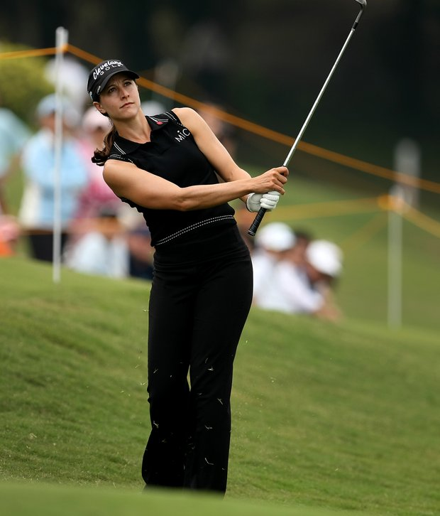 Paige Mackenzie hits a chip at No. 9 during Thursday's round.