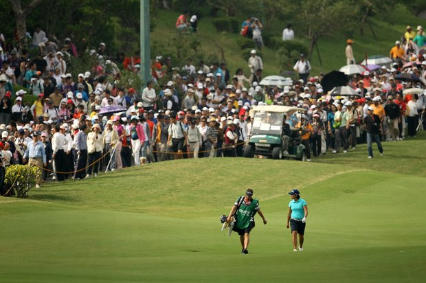 Yani Tseng makes her way down the 9th fairway.