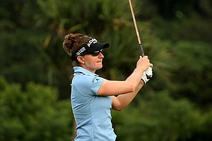Brittany Lang during Thursday's round. Lang posted a 75 in Round 1.
