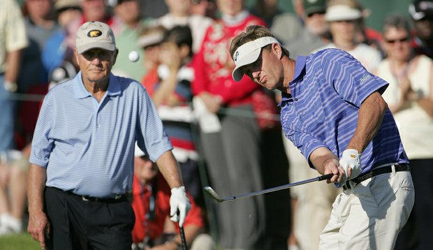 Jack Nicklaus II chips onto the 18th green during the first round of the 2008 Del Webb Father/Son Challenge on the International Course at ChampionsGate Golf Club (file photo).