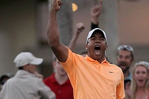 Jhonattan Vegas of Venezuela reacts after making the winning putt on the second playoff hole during the final round of the Bob Hope Classic.
