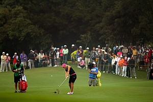 Anna Nordqvist hits a shot in the fairway at No. 8 fairway during Friday's round.