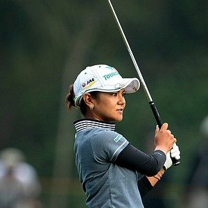 Ai Miyazato in the fairway at No. 17 during Friday's round.