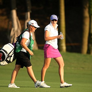 Alison Walshe walks up No. 17, she is in 7th place after three rounds.