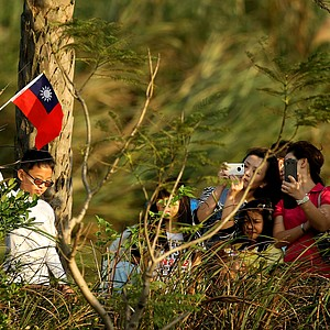 Fans who were not on the golf course line the street outside trying to catch a glimpse of hometown hero Yani Tseng near the 17th tee.