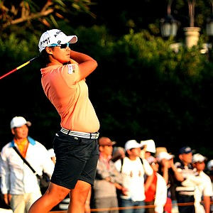 Yani Tseng watches her tee shot at No. 17 during Saturday's round. Yani Tseng took the outright lead after Saturday.