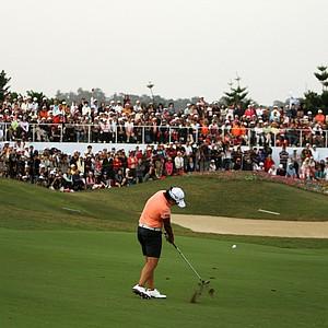 Yani Tseng hits her second shot at No. 18 during Saturday's round. Tseng had three birdies on the back nine.