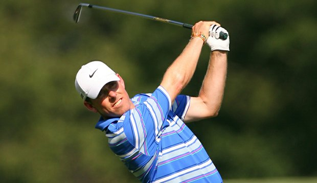 Justin Leonard hits his second shot on the 18th hole during the second round of the 2011 Wyndham Championship.