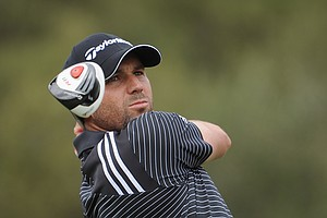 Sergio Garcia plays a shot during the final round of the Castello Masters Costa Azahar at the Club de Campo del Mediterraneo.