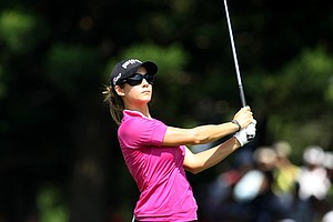 Azahara Munoz during the final round of the inaugural 2011 Sunrise LPGA Taiwan Championship.