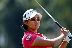 Yani Tseng watches her tee shot at No. 2 during the final round of the inaugural 2011 Sunrise LPGA Taiwan Championship.