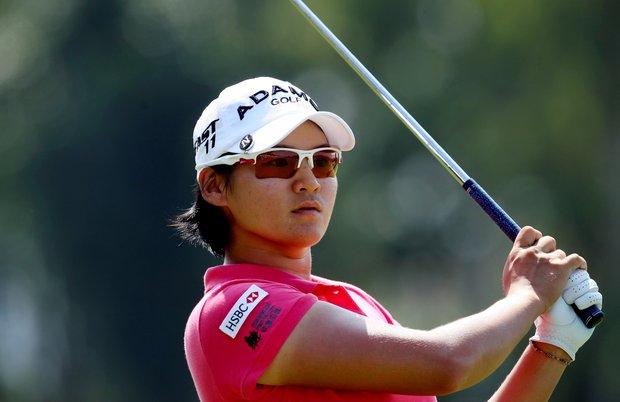 Yani Tseng watches her tee shot at No. 2 during the final round of the inaugural 2011 Sunrise LPGA Taiwan Championship.