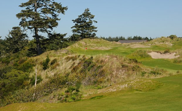 Not much to say about this tee shot at the 11th.  At 152 yards and the left side of the green falling off into the high grasses of Bandon Dunes, the safe route is the right side, but judging the distance and the wind, hitting any part of the green may be difficult.