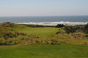 An elevated tee on No. 9 provides a great look at the Pacific Ocean and a relatively easy shot compared to some at The Preserve.  Short poses no problem getting up and down.