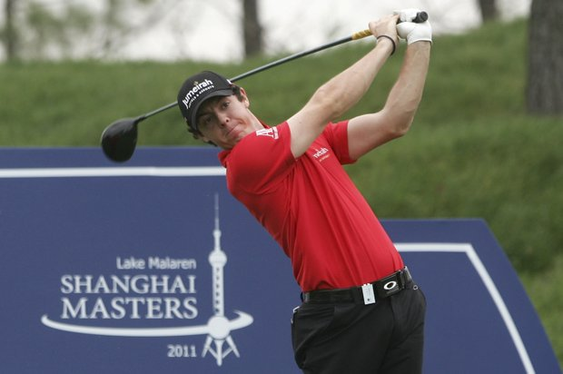 Rory McIlroy tees off on the third hole during the first round of the Lake Malaren Shanghai Masters golf tournament in Shanghai, China