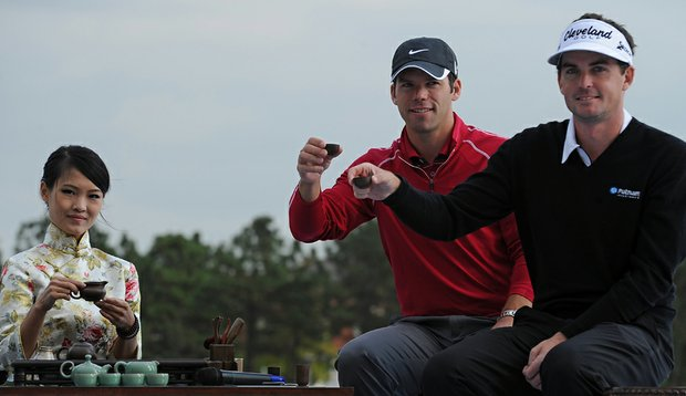 Paul Casey and Keegan Bradley attend a traditional Chinese tea ceremony in Shanghai.