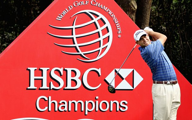Bill Haas tees off during a practice round for the HSBC Champions in Shanghai