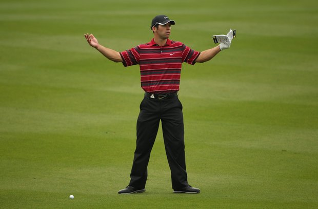 Paul Casey in action during the first round of the WGC-HSBC Champions.