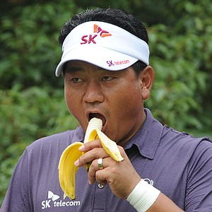 K.J. Choi waits to tee off at the 18th hole during Round 1 of the WGC-HSBC Champions.