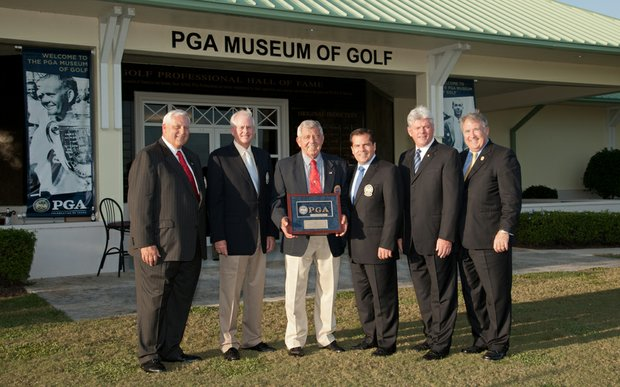 From left, PGA president Allen Wronowski, PGA vice president Ted Bishop, PGA Hall of Fame inductee Errie Ball, PGA secretary Derek Sprague PGA honorary president Jim Remy and PGA CEO Joe Steranka at the Hall of Fame induction ceremony.