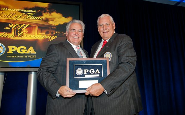 Hall of Fame inductee Jack Barber and PGA president Allen Wronowski