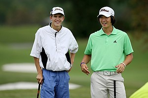 Michael Hines, left, and James Yoon, right, during the Golfweek East Coast Junior Invitational at Shingle Creek Golf Club.