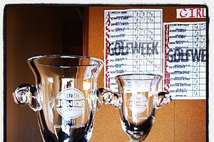 Boys and girls trophies in front of the scoreboard during the Golfweek East Coast Junior Invitational. (Taking with Instagram)