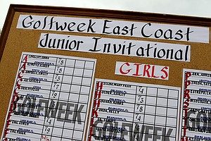 The girls scoreboard during the Golfweek East Coast Junior Invitational at Shingle Creek Golf Club.