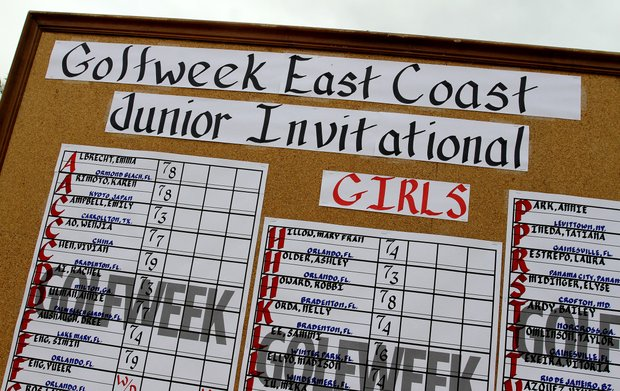 The girls scoreboard during the Golfweek East Coast Junior Invitational at Shingle Creek Golf Club.