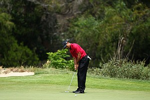 Tiger Woods putts on the first hole during day four of the 2011 Australian Open.
