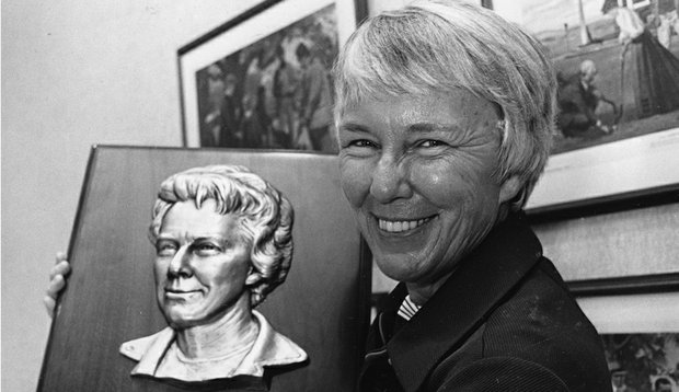 "Mary ""Mickey"" Wright holds a World Golf Hall of Fame plaque bearing her likeness in Pinehurst, N.C., where she was inducted into the Hall of Fame, Sept. 8, 1976."