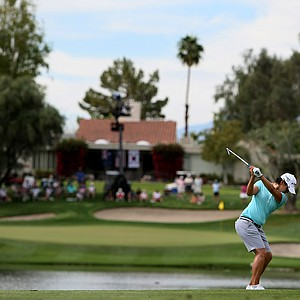 Yani Tseng hits her second shot at No. 6 during the third round of the Kraft Nabisco Championship.