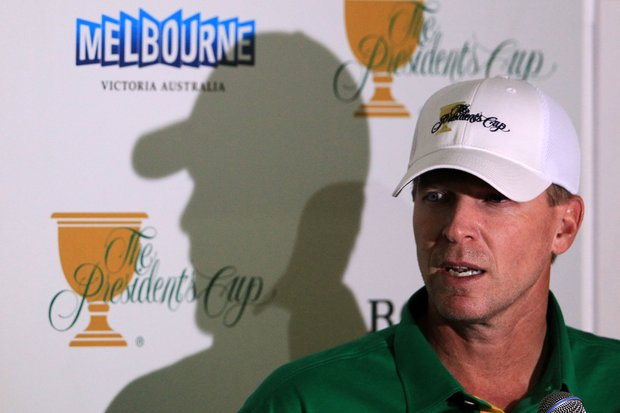 American Steve Stricker is interviewed during a press conference prior to the start of the 2011 Presidents Cup.