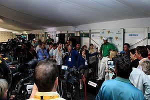 Tiger Woods during a pre-Presidents Cup press conference.